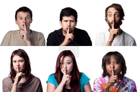 Photo pour SHH être tranquille des Six expressions personnes - image libre de droit