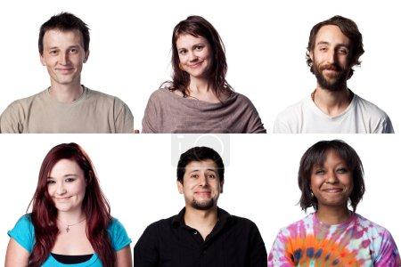 Warmes Lächeln sechs Ausdrücke Menschen