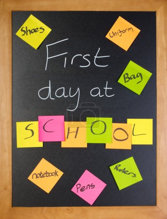 Photo for A list of all the things a student might need for their first day of school - Royalty Free Image
