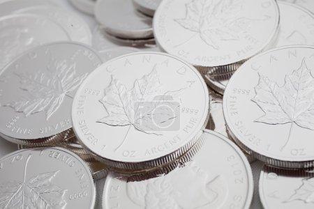 Photo pour Pièces en métal précieux argenté - image libre de droit