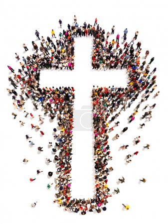Photo for Large crowd of people walking to and forming the shape of a cross on a white background with room for text or copy space in the cross. - Royalty Free Image