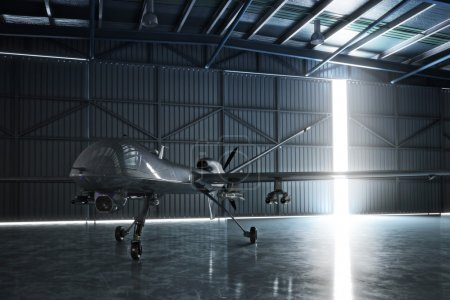 Photo pour Lone drone U.A.V aircraft awaiting a military mission in a hanger. 3d model scene - image libre de droit