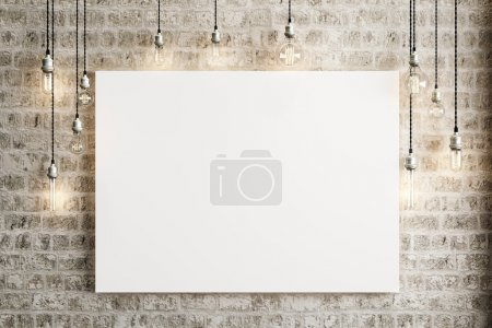 Photo pour Mock up poster with ceiling lamps and a rustic brick background, Photo realistic 3d illustration. - image libre de droit