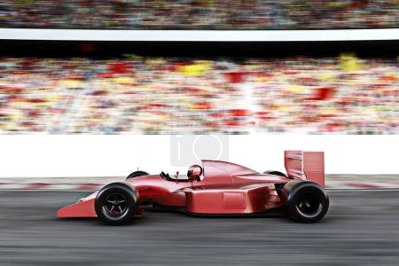 Photo pour Sport automobile voiture de course rouge vue de côté sur une piste menant le peloton avec le mouvement Flou . - image libre de droit