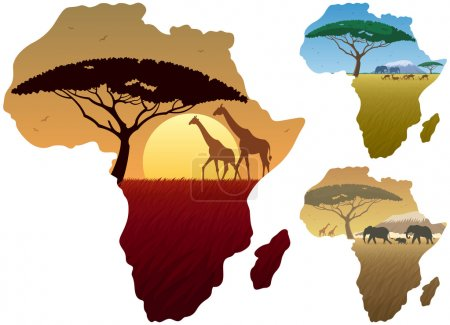 Illustration for Three African landscapes in map of Africa. - Royalty Free Image