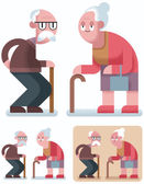 Flat design illustration of elderly couple in 3 color versions