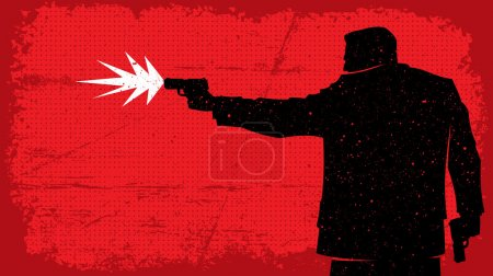 Illustration of man shooting with pistol. No trans...