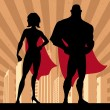 Square banner of male and female superheroes. No t...