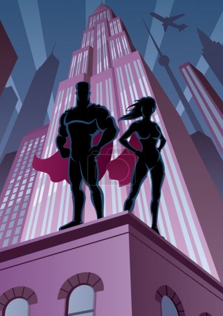 Illustration for Superhero couple watching over the city. - Royalty Free Image