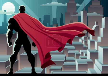 Illustration for Superhero watching over city. No transparency used. Basic (linear) gradients. A4 proportions. - Royalty Free Image