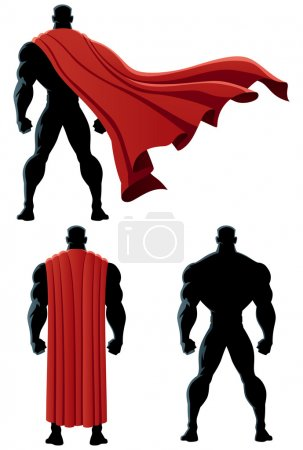 Illustration for Back of superhero over white background and in 3 versions. No transparency used. Basic (linear) gradients. - Royalty Free Image