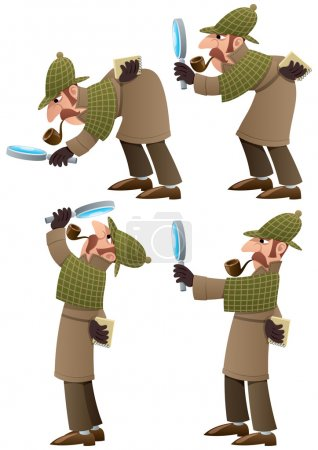 Illustration for Set of 4 illustrations of cartoon detective. No transparency used. Basic (linear) gradients - Royalty Free Image