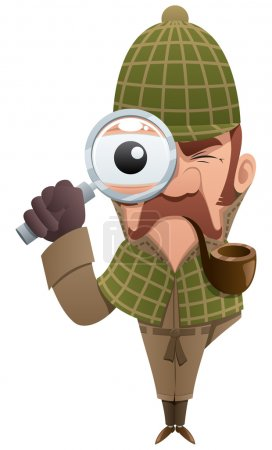 Illustration for Cartoon illustration of detective, looking at you through magnifier. - Royalty Free Image