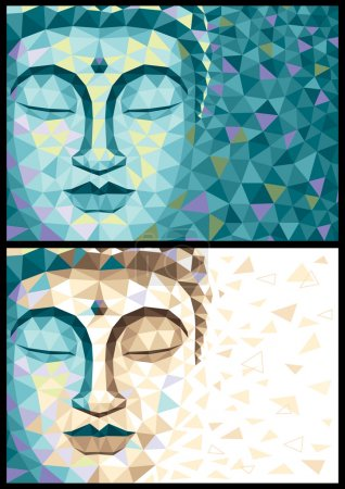 Illustration for Abstract illustration of Buddha in 2 versions. No transparency and gradients used. - Royalty Free Image