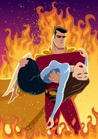 Illustration pour Illustration d'un super héros portant une femme dans ses bras. Pas de transparence et de gradients utilisés . - image libre de droit