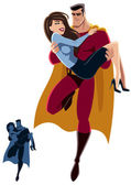 Illustration of superhero carrying woman in his arms No transparency and gradients used