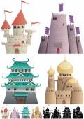 Set of cartoon castles on white background in 3 versions: One with gradients other without gradients and still other with silhouettes