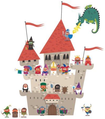 Small cartoon kingdom on white background. No tran...