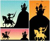 Set of cartoon banners with knight and castle silhouettes and copy space for your text