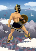 Greek hero Perseus flying in his magic sandals No transparency used Basic (linear) gradients