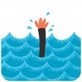 Cartoon illustration of drowning man