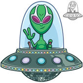 Cartoon of alien flying saucer