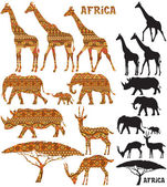 Set of African animal silhouettes in 2 versions: black and pattern filled