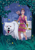 Goddess Artemis in woods with bear