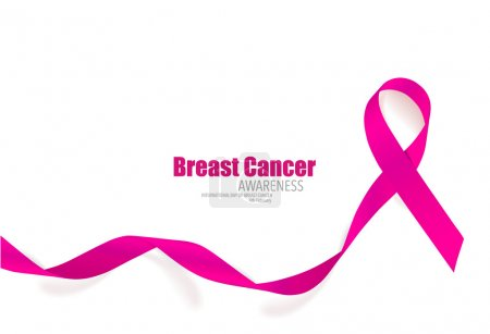 Illustration for Breast cancer awareness pink ribbon. Vector Illustration. - Royalty Free Image