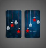 Holiday gift coupons with gift bows and Christmas ball vector i