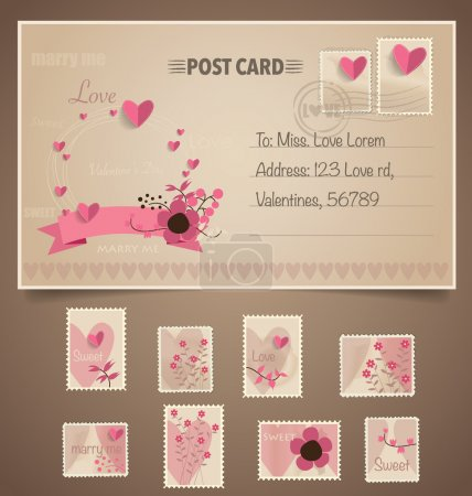 Illustration for Vintage postcard background and Postage Stamps - for wedding card design, invitation card design, congratulation card design, scrapbook design - Royalty Free Image