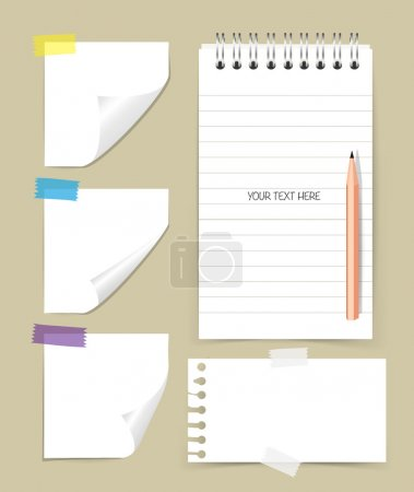 Note book and note papers with pencil, Business working elements