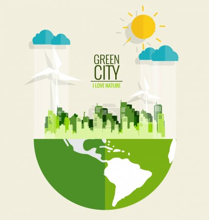 Illustration for Green city. Environmentally friendly world. Ecology concept. Vector illustration. - Royalty Free Image