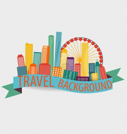 Illustration for Creative travel template. City, Vector illustration. - Royalty Free Image