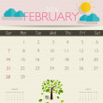 Modern monthly calendar template for february...