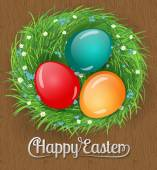 Easter card Nest made of grass and decorated with daisies and forget - me- not flowers full with Easter eggs Wooden  background with lettering