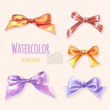 Illustration for Set of 5 hand - drawn watercolor bows - Royalty Free Image
