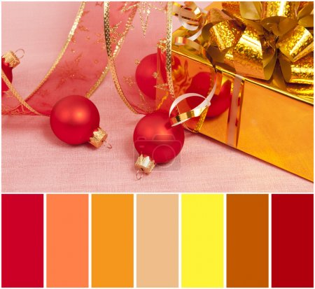 Christmas Decoration on a red  background and colour palette