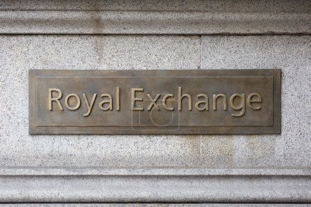 Royal Exchange sign plaque in the City of London