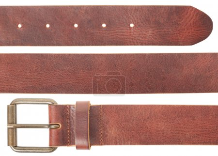 Brown leather belt set on white