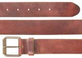 Brown leather belt set on white
