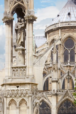 Photo for Paris, Notre Dame holy Virgin statue on the gothic cathedral - Royalty Free Image