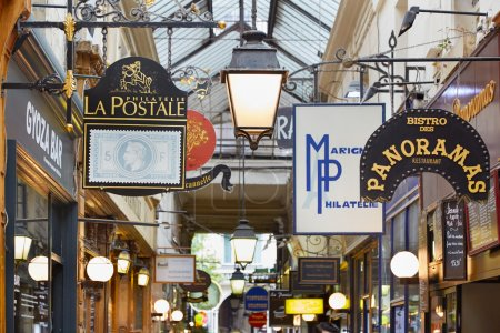 Photo for Paris, Passage des Panoramas. These typical passages were built during the first half of the XIXth century. - Royalty Free Image