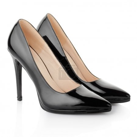 Black elegant shoes for woman, clipping path