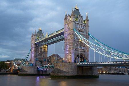 Tower bridge in London illuminated in the evening