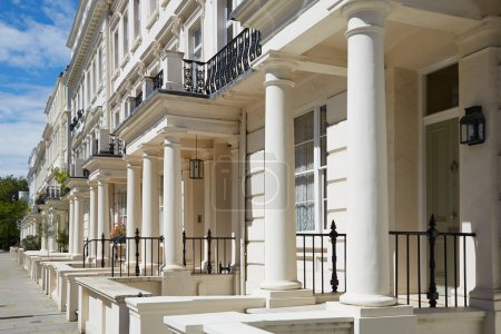 White luxury houses facades in London