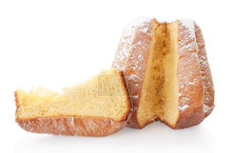 Pandoro, Christmas cake and portion with icing sugar on white