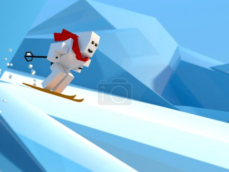 man skiing down a slope