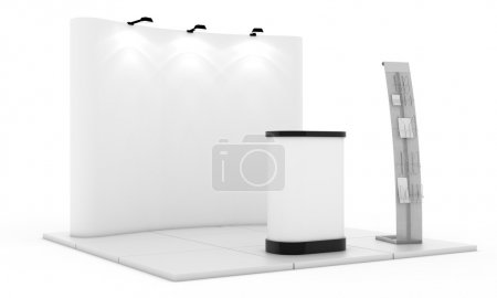 Photo for Empty trade event stand. Trade exhibition stand. White blank trade show booth. Advertising space on a white background, with space for text ads. 3D rendering illustration - Royalty Free Image
