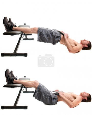 Photo for Weighted hip raise exercise. Studio shot over white. - Royalty Free Image